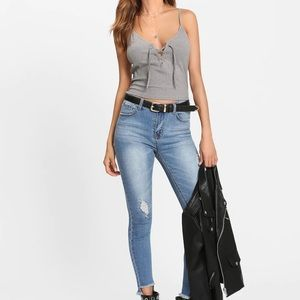 Grey Lace Up Cami Top. Size Small